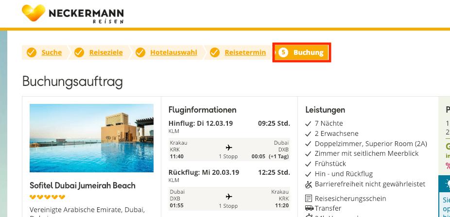 Neckermann Reisen Buchung