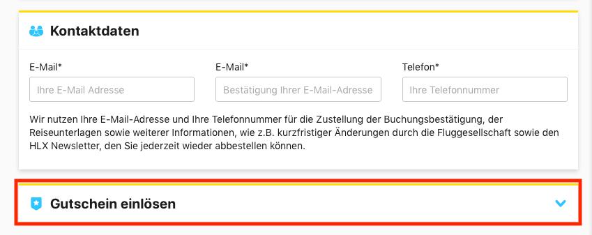 HLX Gutschein Eingabe