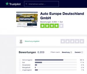 Auto Europe Trustpilot
