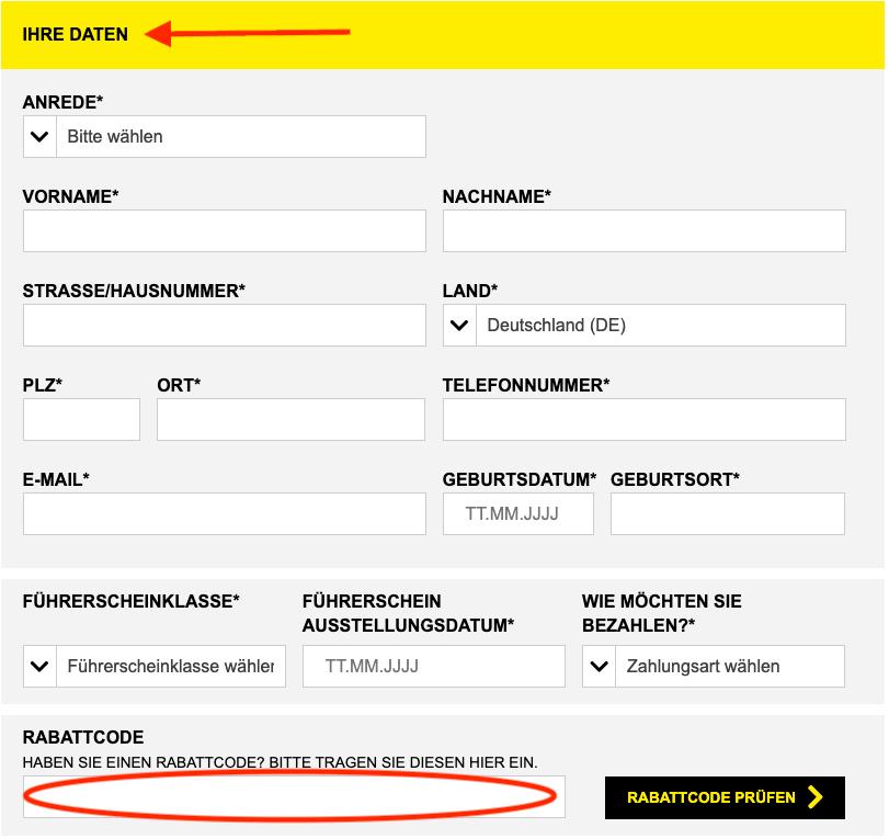 Starcar Gutscheincode einlösen