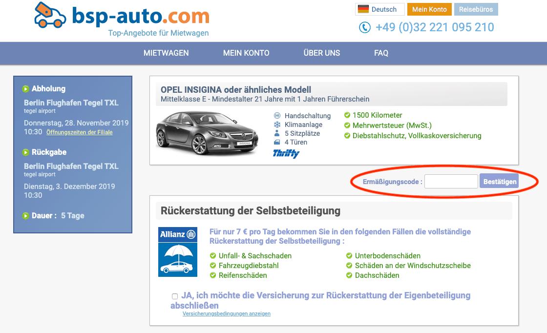 bsp-auto.com Gutschein einlösen